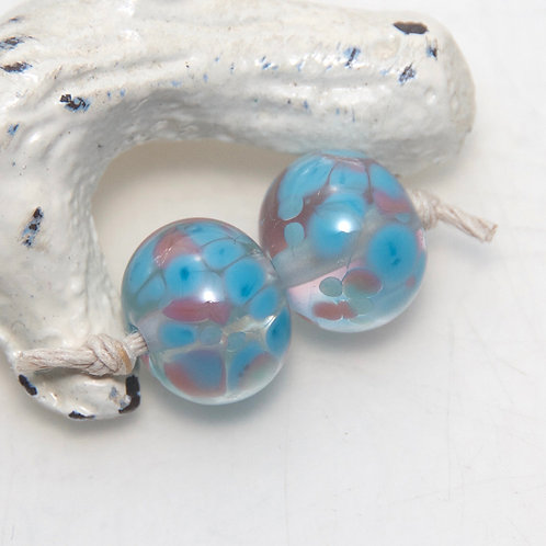 Scarborough Blue and Pink Speckled Lampwork Glass Bead Pair