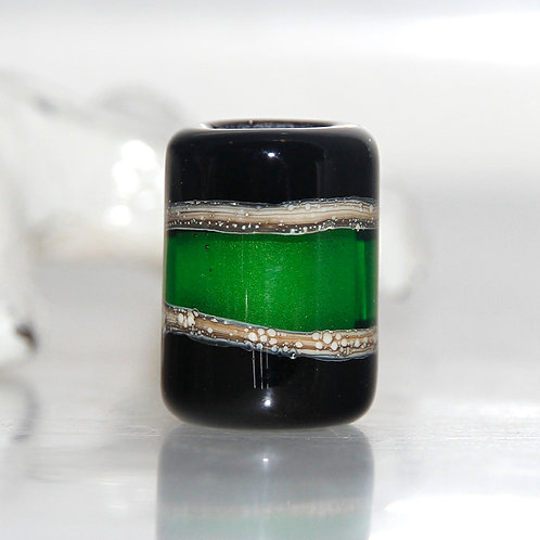 Black and Green Dread Bead 7mm Hole