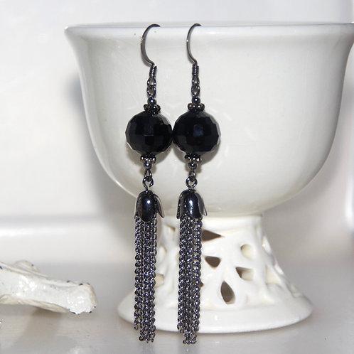 Black Gunmetal Tassel Earrings
