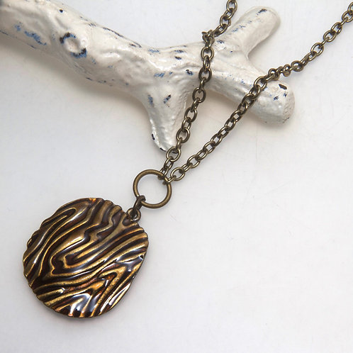 Animal Print Antique Brass Chain Necklace