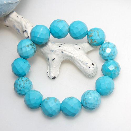 Howlite Aqua Blue Faceted Bracelet