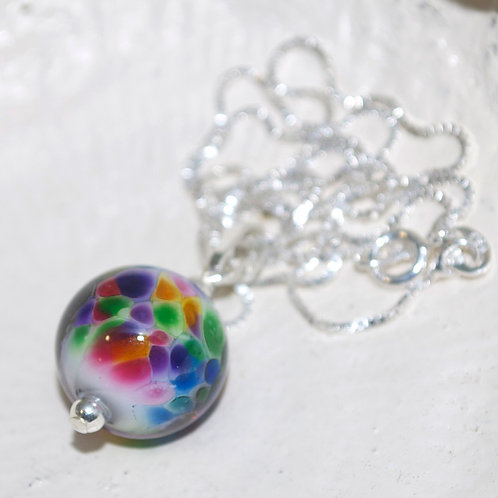 Rainbow Speckle Ball Sterling Silver Necklace