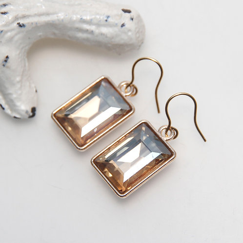 Faux Champagne Crystal Rectangular Earrings