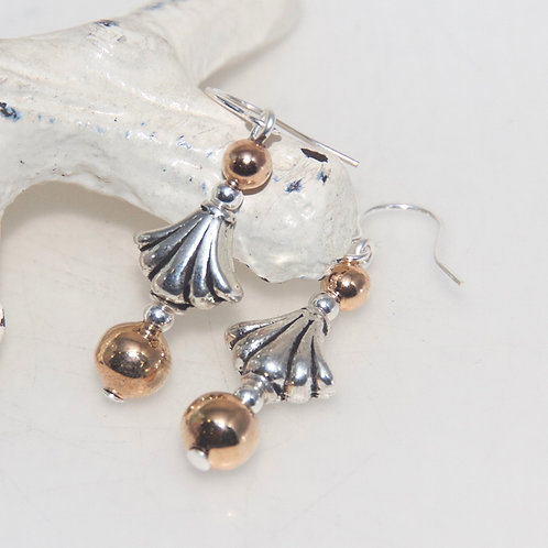 Silver and Copper Drop Earrings