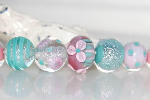 Pretty Pink and Turquoise Lampwork Glass Bead Set