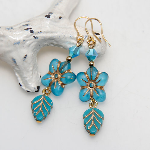 Bright Blue Flower Czech and Swarovski Gold Earrings