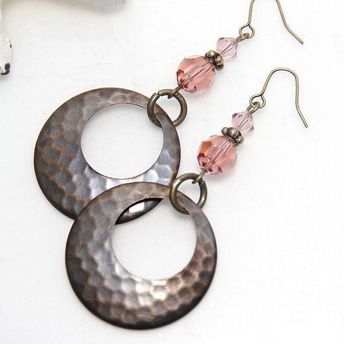 Hammered Bronze with Swarovski Crystal Vintage Rose Earrings