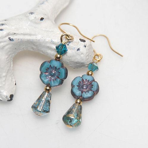 Silk Blue Czech Glass Flower Drop Earrings with Swarovski