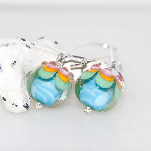Aqua and Pastel Spot Topped Sterling Silver and Glass Earrings