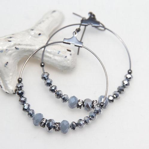 Metallic Silver and Grey Big Hoop Earrings