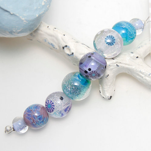 Purple and Blue with Dichroic and Murrini Lampwork Glass Bead Set