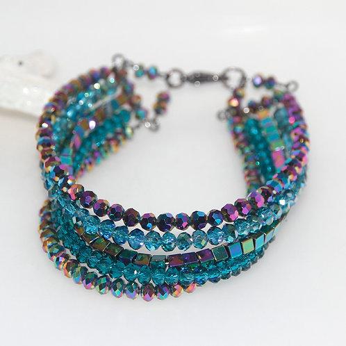 Multistrand Metallic Rainbow and Teal Crystal Glass Beaded Bracelet
