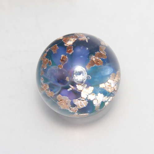 Space Junk Implosion Marble with Golden Glitter and Cubic Zirconia