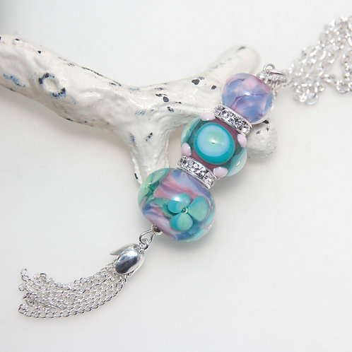 Fantasy Garden Lampwork Glass Silver Plated Tassel Necklace
