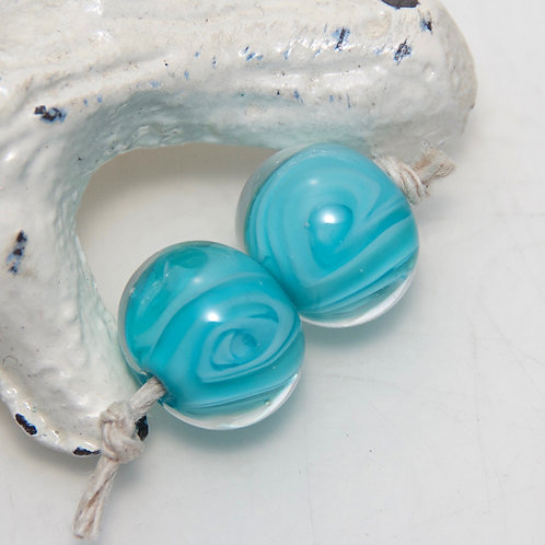 Bright Aqua Swirly Lampwork Glass Bead Pair