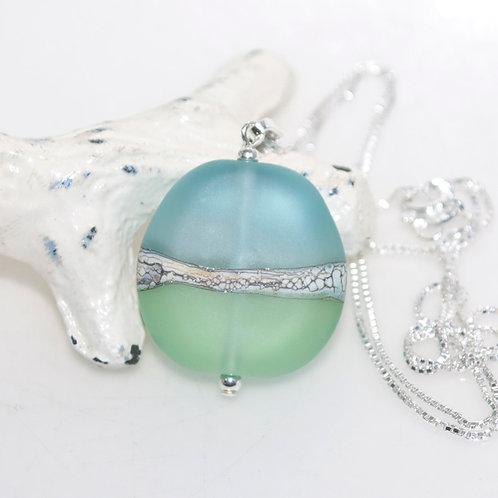 Satin Aqua Mint Two Tone Necklace