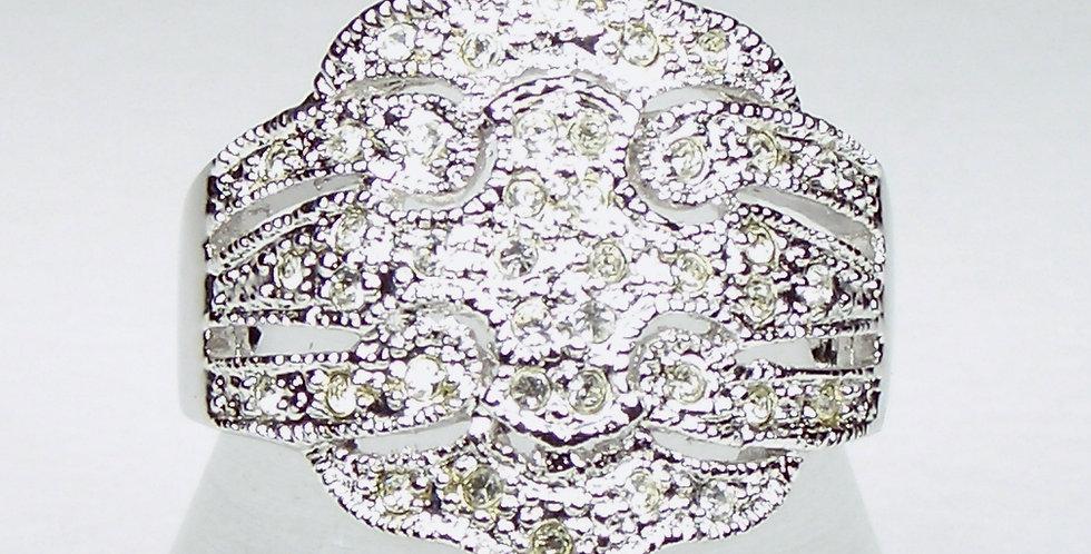 98433 Rhodium Crown Diamante Ring