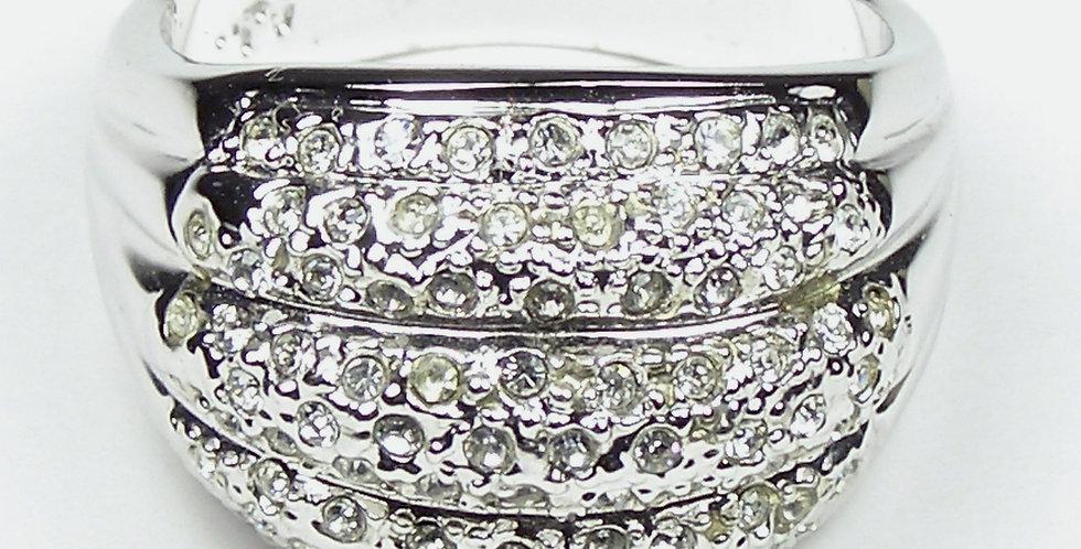Rhodium Pave Face Ring