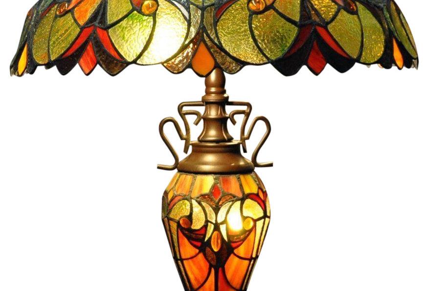 Red & Orange Double Tiffany Lamp 68cm