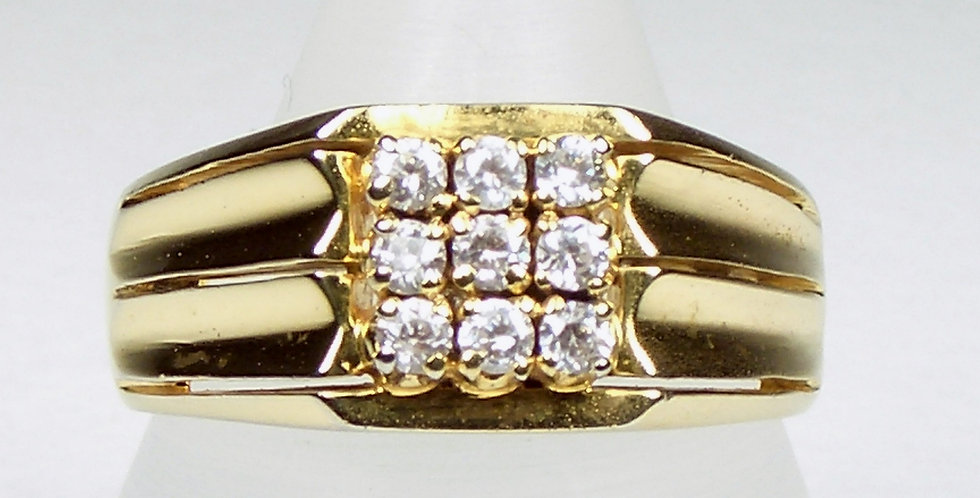 Gold 9 Zircons Face Ring