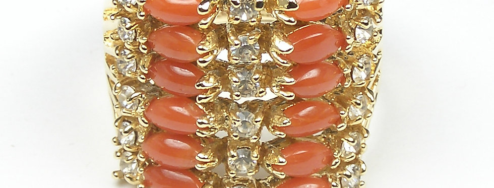 6 Rows Coral Ring