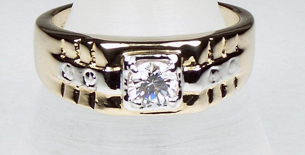 Lined Zircon Signet Ring