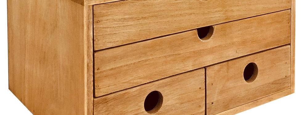 Rustic Solid Wood Storage Organizer 33cm