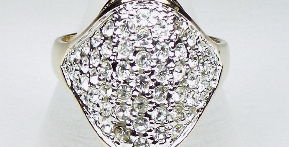 Gold Lozenge Stones Ring