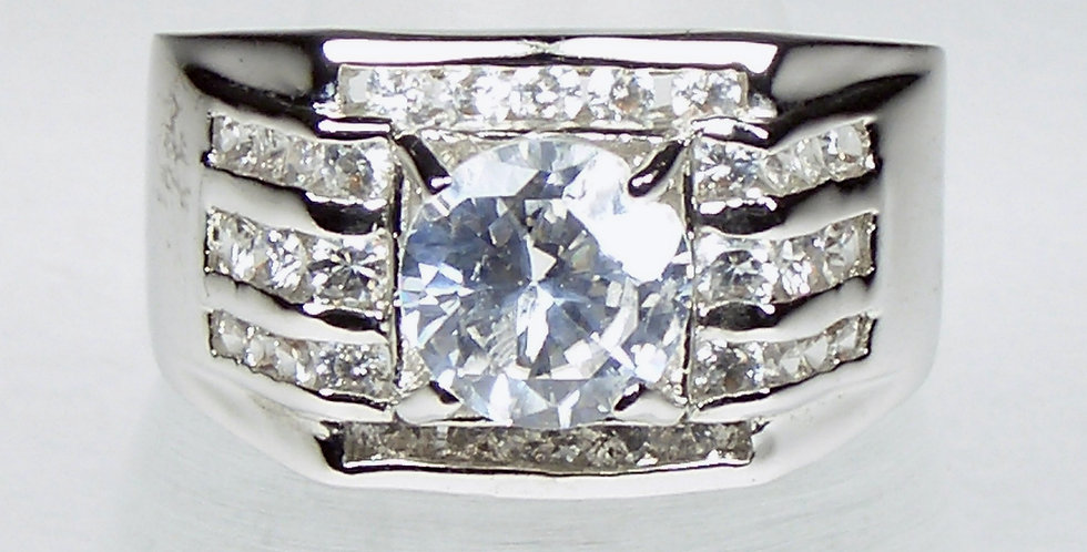 4819 Rhodium Top Zircon Gents Ring