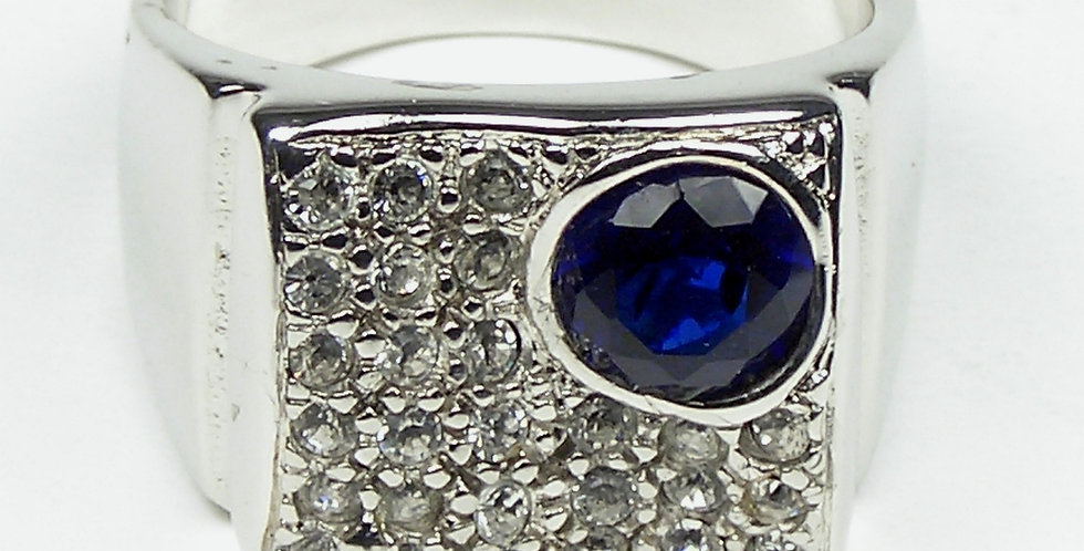 Blue Cubic Stone Ring