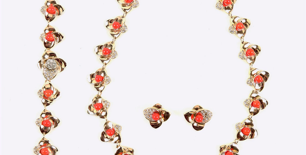 Red Dotted Gold Set