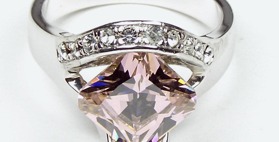 370 Rhodium Pink Zircon Ring