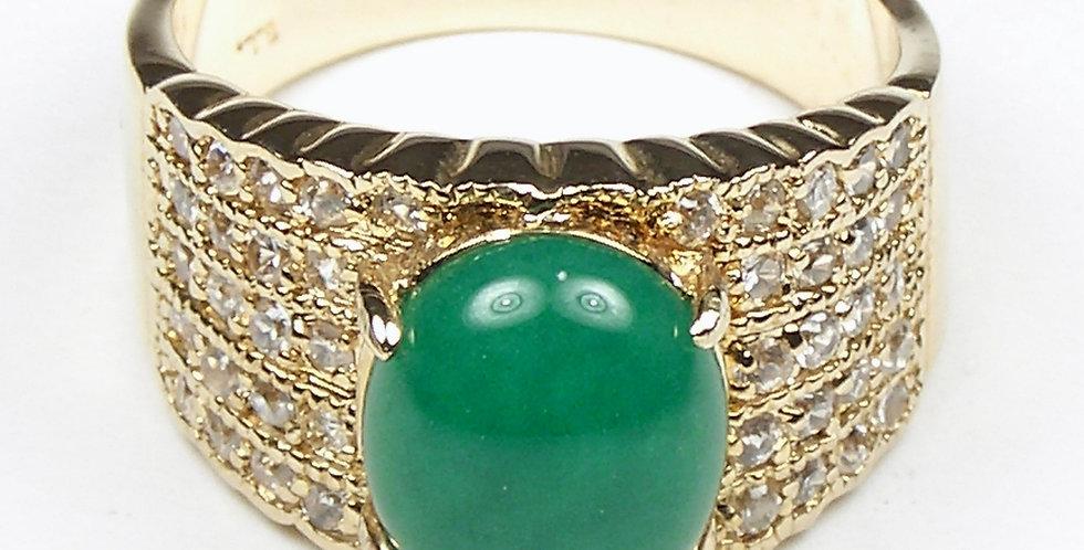 Gold Jade Cabochon Ring