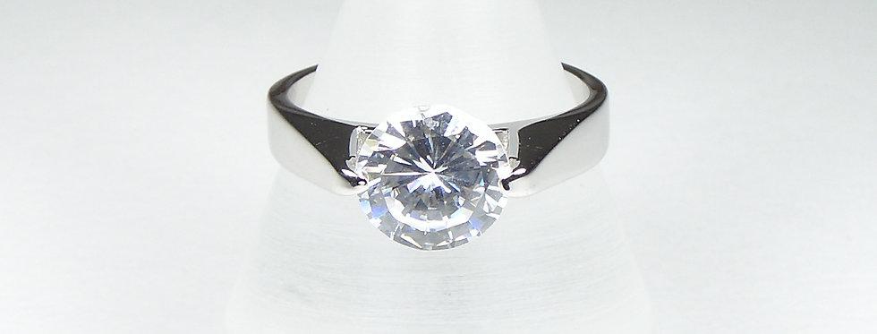 Rhodium Top Zircon Ring