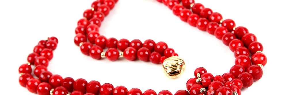 Red Faceted Coral Set