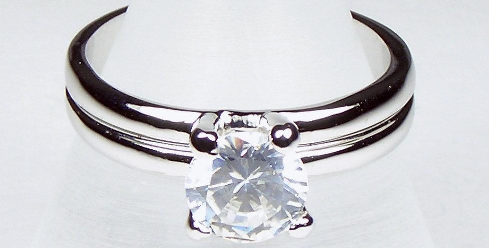 Rhodium Elevated Zircon Ring