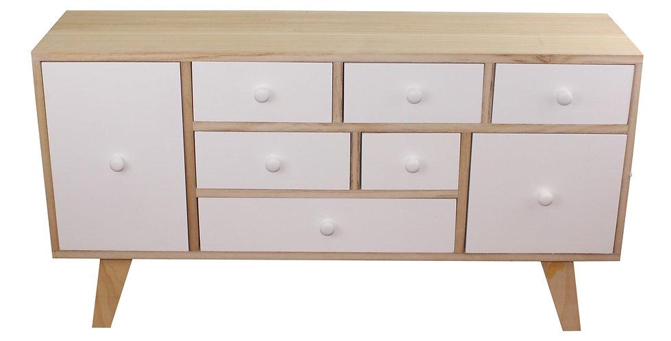 9 Drawer White & Wooden Storage Unit