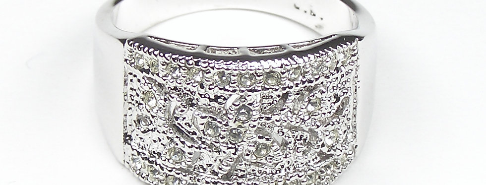 Rhodium Filigree Ring