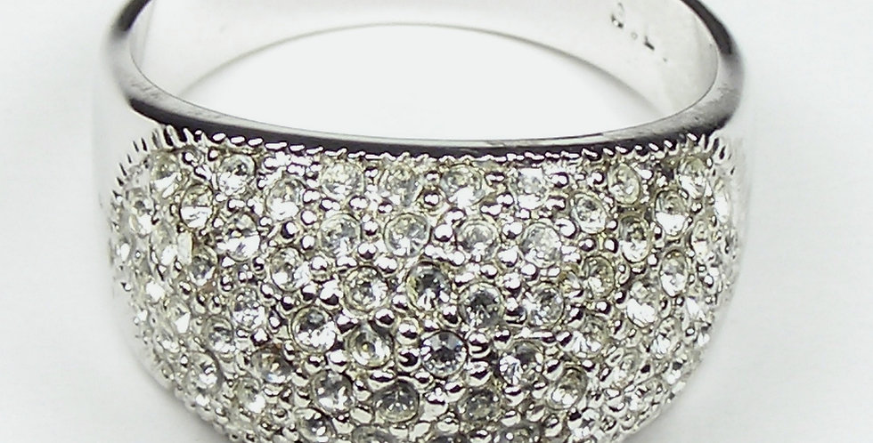 Rhodium Dome Pave Ring