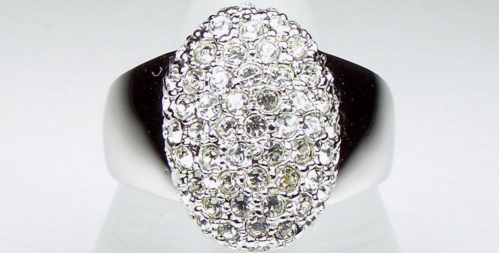 Rhodium Oval Ladies Ring