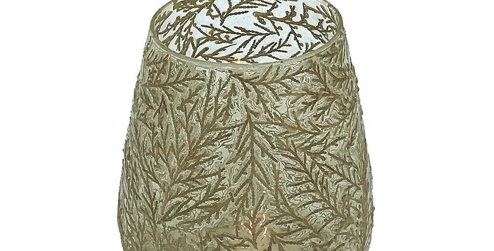 Glass Leaf Tea Light Holder