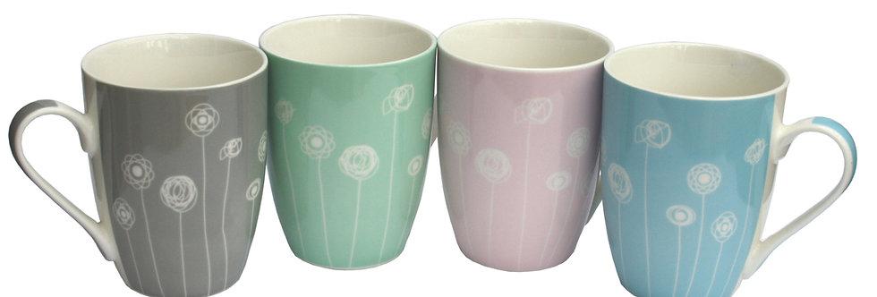 Set/ 4 Pastel Coloured Dandelion Mugs