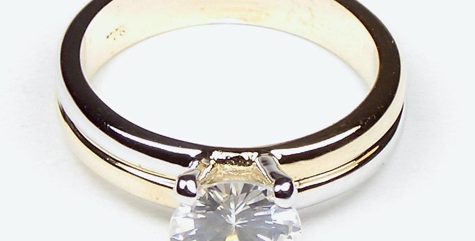 2 Tone Elevated Zircon Ring