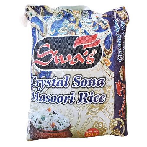 SIVA'S CRYSTAL SONA MASOORI RICE 20LB