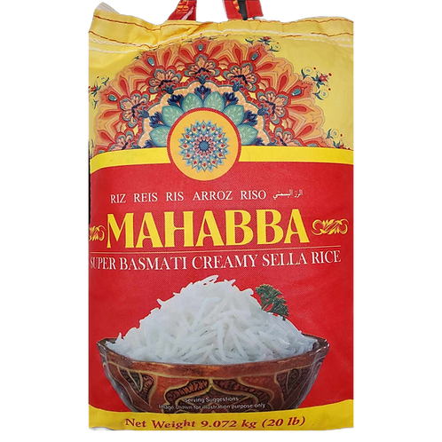 MAHABBA SUPER BASMATI CREAMY SELLA RICE 20LB
