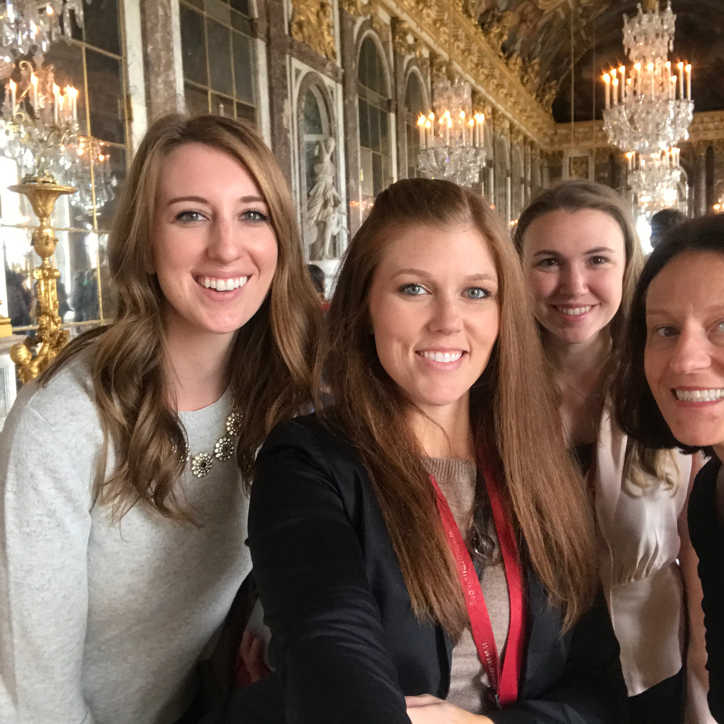 Laura Fox Interior Design Team in The Hall of Mirrors at Versailles