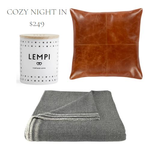 Home Decor Gift Set Including a WHite Scented Candle, Cognac Leather Throw Pillow, and Grey & White Herringbone Cashmere Throw Blanket