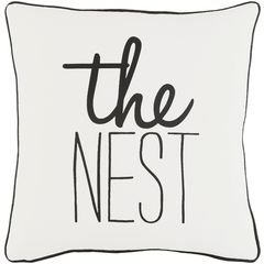 White & Black The Nest Throw Pillow