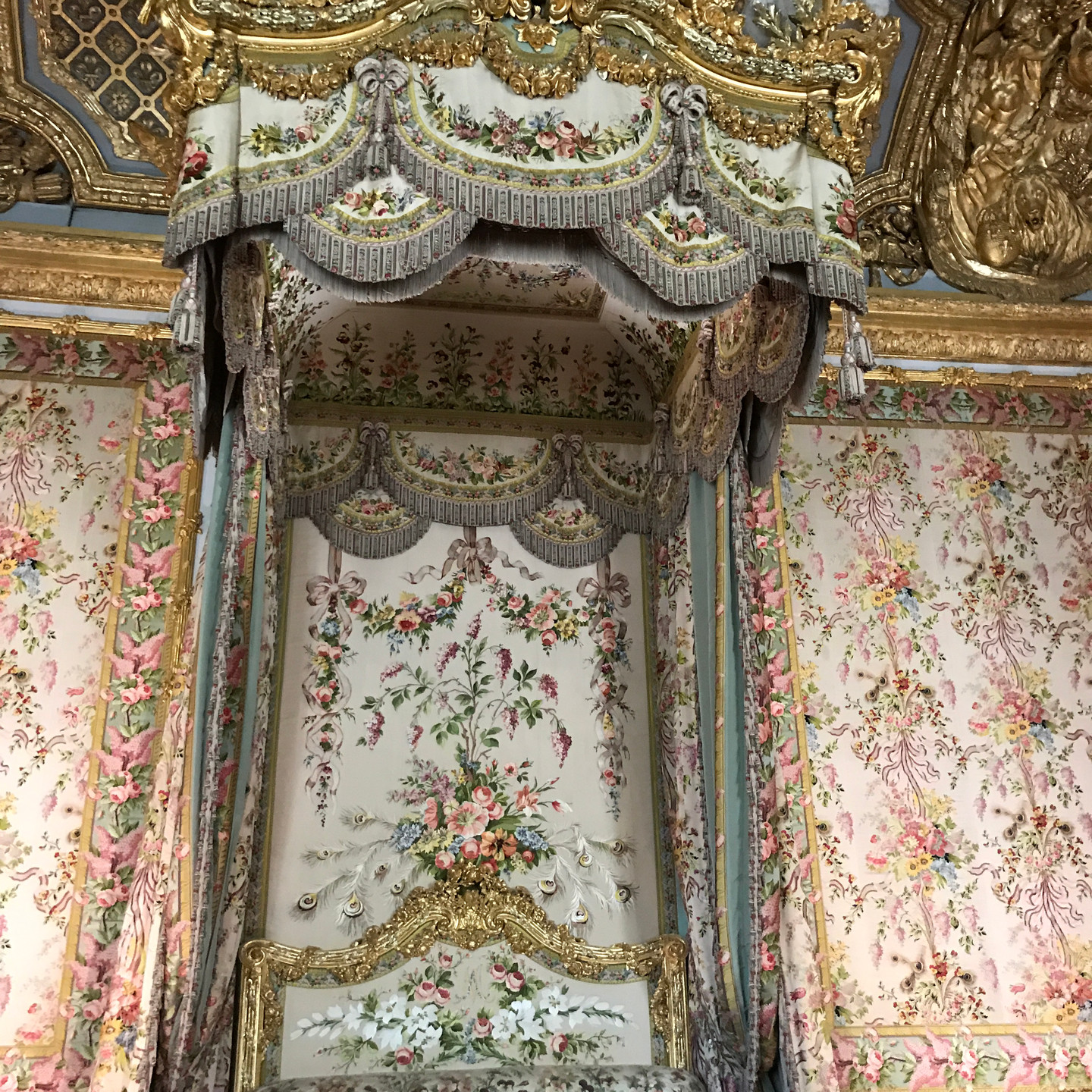 Marie Antoinette's Bedroom with Fringed Canopy Bed at Versailles