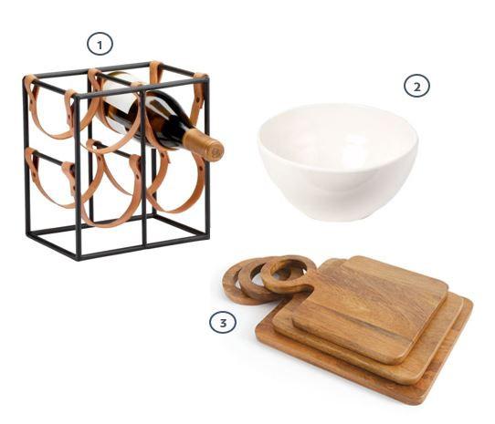 Wine rack, white ceramic bowl, set of three wood cutting boards